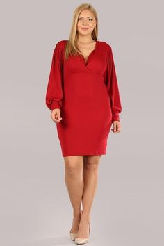 Long Sleeve Bodycon Dress - Red - 1X