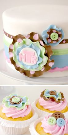 Fabric-inspired baby shower cake and cupcakes (These Pods are Hallow). Adorable!