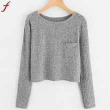 FEITONG Fashion Womens Sweatshirts Lange Mouw O Hals Pocket Sweatshirt Casual Effen kleur Trui Elegant Casual Tops Tumblr(China)