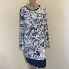 MICHAEL Michael Kors Long-Sleeve Abstract-Dress MICHAEL Michael Kors Long-Sleeve Abstract-Print Dress, Graphite Size S Michael Kors Other