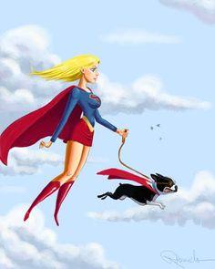 "Supergirl ""Walks"" her Boston Terrier superhero art print"