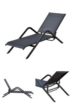 Black Metal Sun Lounger Adjustable Folding Camping Garden Pool Chair Chaise Bed #SunGarden