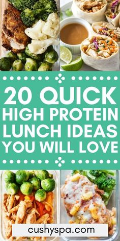 20 High Protein Lunch Ideas To Keep You Full If you're on a high protein diet, try these packable lunch ideas that are healthy and full of protein. High protein recipes can be so delicious and healthy! High Protein Lunch Ideas, Healthy High Protein Meals, High Protein Dinner, Low Calorie Lunches, Quick Healthy Lunch, Protein Rich Foods, High Protein Low Carb, High Protein Recipes, Healthy Meal Prep