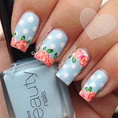 Easy Flowers Nail Art Designs - 100 pictures - Our Nail Nail Art Hacks, Nail Art Diy, Diy Nails, Cute Nails, Pretty Nails, Seasonal Nails, Polka Dot Nails, Polka Dots, Flower Nail Art