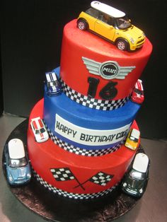 Mini Cooper 16th birthday tiered cake.
