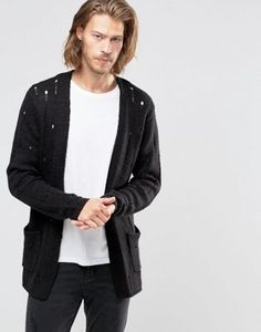 ASOS Laddered Open Cardigan in Wool Mix
