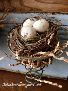Loving the nest in the old spring. Google Image Result for http://thebackyardbungalow.com/wp-content/uploads/2012/08/thebackyardbungalow.com-bed-spring-wall-decor-nest.jpg
