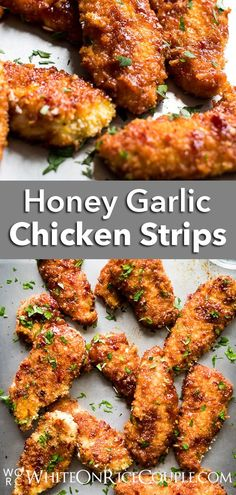 Honey Garlic Chicken Strips Recipe Sweet and Sticky Chicken Tenders Chicken Strip Recipes, Chicken Strips, Turkey Recipes, Sticky Chicken, Honey Garlic Chicken, Teriyaki Chicken, Grilled Chicken, Easy Appetizer Recipes, Delicious Dinner Recipes