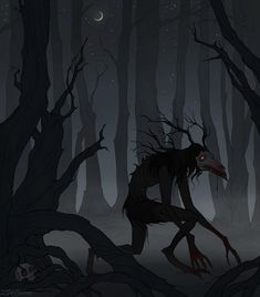 Day 25 of was Dark Forest. October is over, but my work on the prompts is not finished yet, so here is Wendigo, roams in the dark. Be careful walking deep in the unknown forest. Shadow Creatures, Forest Creatures, Fantasy Creatures, Fantasy Forest, Forest Art, Dark Fantasy, Dead Forest, Arte Horror, Horror Art