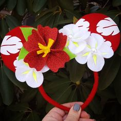 Lilo Hibiscus Flower inspired Minnie Mouse Headband Red | Etsy