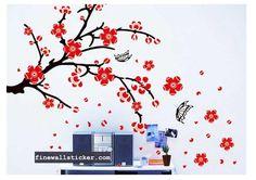 Removable Sticker Red Plum Flowers Wall Sticker   #RedPlum #Plum #PlumFlowers  #wallsticker #flowerwallsticker #walldecal #design #interiordesign #flower Red Plum, Plum Flowers, Flower Wall Stickers, Wall Decals, Interior Design, Blog, Home Decor, Nest Design, Decoration Home