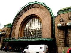 The Central Train Station of Helsinki by Eliel Saarinen, dating from 1914. The style is Art Nouveau.