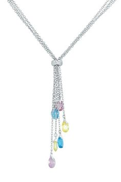 Dress It Up: Jewelry Essentials Multicolor CZ Briolette Y-Necklace