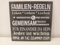 Familien-Regeln Familie Holztafel mit Spruch von Gartenreich auf DaWanda.com