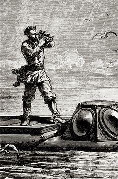 Capitaine Nemo faisant le point. Le point Nemo est le lieu de l'océan le plus isolé, le point le plus éloigné de toutes terres émergées. Son nom fait bien sûr référence au héros de Vingt mille lieues sous les mers.