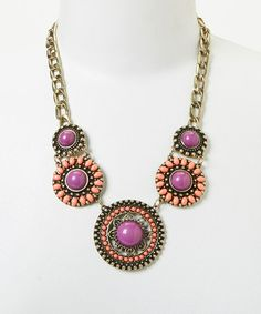 Antique Bronze & Purple Bib Necklace by Lux Accessories #zulily #zulilyfinds