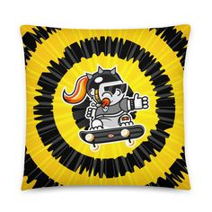 Skate Girl Black & Yellow Pillow - Tie-dye Bust Collection - 22×22
