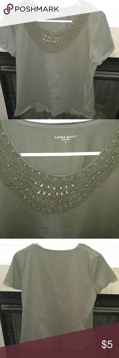 Beautiful Short Sleeve Top Laura Scott - size large. Beautiful embellished collar. Dark olive green color. Gently used. Smoke free home. Laura Scott Tops Tees - Short Sleeve