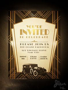 Art Birthday Party Invitation Template Awesome Art Deco Gatsby Party Invitation Design Template Available Carnival Birthday Invitations, Christmas Party Invitation Template, Art Deco Wedding Invitations, Free Invitation Templates, Photo Invitations, Invitation Design, Printable Party, Printable Invitations, Gatsby Party