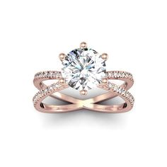 Modern X Band 2.25 Carat Solitaire Engagement Ring With 48 Side Diamonds in 14K Rose Gold