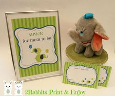 Elephant Baby Shower Advice for Mom to Be Cards with Sign -  Gender Neutral Baby Shower !!! #elephantbabyshower  #genderneutralbabyshower #adviceformomcards  #etsypartyshop #partydigitalfiles #babyshowergames