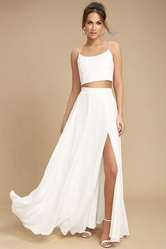 554f91af75 The Thoughts of You White Two-Piece Maxi Dress is always on our mind! Soft  and breezy woven poly two-piece dress with a lace-up crop top and maxi skirt .