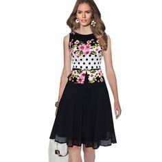Chiffon Print O-neck Sleeveless Knee-length Dress