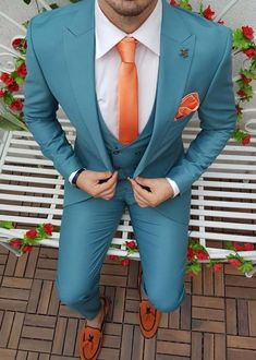 Chinos Men Outfit, Blazer Outfits Men, Stylish Mens Outfits, Mens Suits Sky Blue, Sky Blue Suit, Blue Fitted Suit, Mens Suit Colors, Mens 3 Piece Suits, 3 Piece Suit Wedding