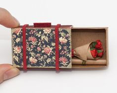 Cute Valentine Matchbox Suitcase with Bouquet of Roses miniature / Card / Gift box / Black Vintage Pattern