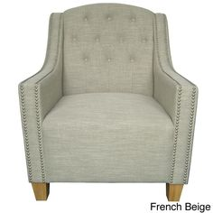 Complement your bedroom or living room with this classic arm chair. This chair features an oil-based finish, distinctive nailhead trimming, and smooth upholstery. Available in three eye-catching color options, this piece will brighten up any room.