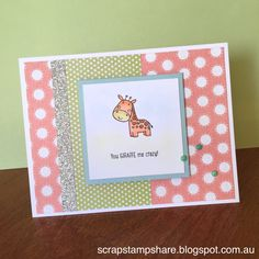 A cute card featuring 'Animal Greetings', the new Operation Smile stamp set from CTMH, Zoe B&T Paper, Silver Shimmer trim and CTMH Watercolour Pencils.  Created by Denise Tarlinton http://scrapstampshare.blogspot.com.au