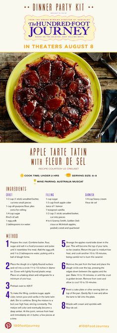 "Apple Tarte Tatin with Fleur De Sel Recipe from the movie ""The Hundred Foot Journey"" - Ayurveda Rezepte Delicious Desserts, Dessert Recipes, Yummy Food, 100 Foot Journey, Ayurveda, My Favorite Food, Favorite Recipes, Mcintosh Apples, Party Kit"