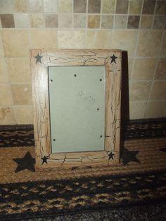 Primitive Wood Picture Frame 4x6  Crackle Tan Black Stars Country Decor #NaivePrimitive