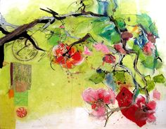 """Infinite Blossom, mixed media on canvas by Kellie Day, 36"""" x 30"""", SOLD"""