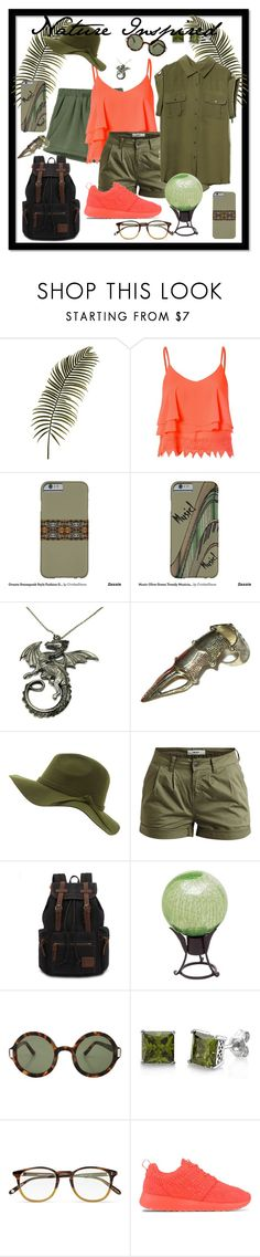 """""""Nature Inspired Olive Army Green and Peach Coral Summer Fun"""" by cricketdiane ❤ liked on Polyvore featuring Glamorous, Object Collectors Item, The Row, BERRICLE, Garrett Leight and NIKE"""