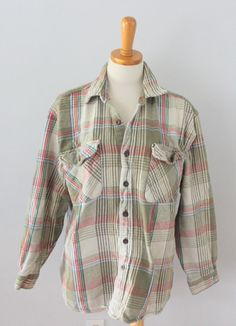 Moose Creek thick plaid Cotton flannel shirt soft Men L grunge lumberjack F3 #MooseCreek #ButtonFront
