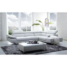 J 1717 Modern Premium Light Grey Leather Sectional Sofa Right Hand Chase #leathersectionalsofas