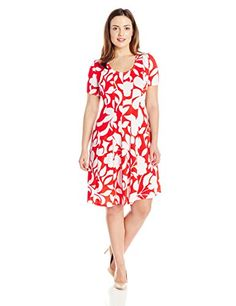 Robbie Bee Womens Plus Size 7 Pc Scoop Neck Capsleeve Dress CoralWhite 1X * See this great product.