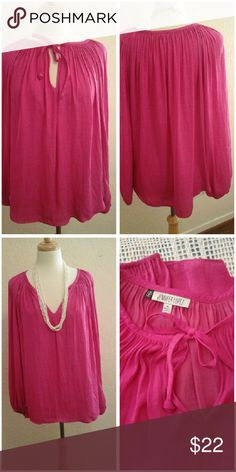 """Jennifer Lopez Top Size XL.  Long sleeves, pull over top. Gorgeous Hot Pink! It is so soft an silky feeling fabric!  Length approx 23"""".  Excellant condition.  Thanks! Jennifer Lopez Tops Tunics"""