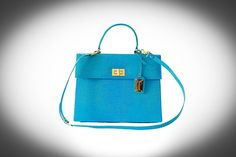 Lizard blue handbag