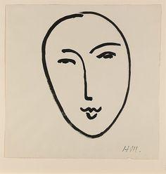 Grand Visage. Henri Matisse, 1952 Abstract Portrait, Henri Matisse, Matisse Art, Abstract Lines, Face Tattoos, Fashion Gone Rouge, Lovers Art, Installation Art, Fashion Prints