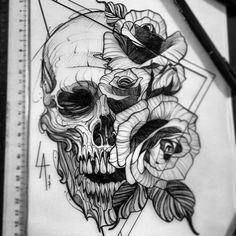 Skull Tattoo Designs and Tattoos - Skull Tattoo Designs - Port . Tatto Skull, Skull Tattoo Design, Tatoo Art, Tattoo Designs, Tattoo Life, Rose Tattoos, Leg Tattoos, Body Art Tattoos, Sleeve Tattoos