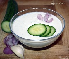 Mézesélet: Gyros szósz Cucumber, Bacon, Food And Drink, Dishes, Vegetables, Cooking, Ethnic Recipes, Kitchen, Tablewares