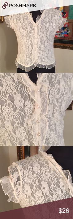 ⭐️APOSTROPHE LOVELY LACE TOP 💯AUTHENTIC APOSTROPHE LOVELY SOFT WHITE LACE TOP 100% AUTHENTIC. STUNNING AND STYLISH TOTALLY ON TREND. THE SIZE IS LARGE Apostrophe Tops