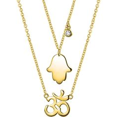 Gold Plated 925 Silver Hamsa Hand Ohm Aum Om CZ Necklace Set ($33) ❤ liked on Polyvore featuring jewelry, necklaces, necklaces pendants, gold plated necklace, layered necklace, pendant necklaces, chain pendants and chain pendant necklace