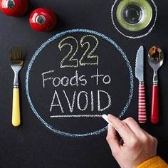 22 Foods to Avoid with Diabetes These top food offenders contain high amounts of fat, sodium, carbohydrate, and calories that may increase your risk of high cholesterol, high blood pressure, heart disease, uncontrolled blood glucose, and weight gain. The good news is you can indulge in your favorite foods and still eat healthfully with our satisfying and delicious alternatives.