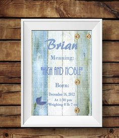 Baby Name meaning keepsake print, Baby keepsake , wall decor, nursery decor, baby boy nursery prints, Baby boy keepsake prints DIGITAL by MNaArtAndGraphics on Etsy