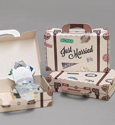 Freebie: Schenkt dem Brautpaar mit Geld gefüllte Koffer für die Flitterwochen (Diy Gifts Love)