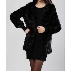 Ladylike Scoop Neck Double Pockets Solid Color Faux Fur Women's Long Coat, BLACK, ONE SIZE in Jackets & Coats | DressLily.com