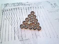 Brown Triangle Button Brooch Blue Five on Bronze by P8ButtonArt, €14.00